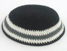 Black Knit Kippot with gray and white border